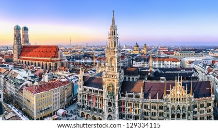 Panorama view of Munich city center showing the City Hall and the Frauenkirche, Germany - stock photo