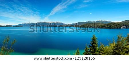 Panorama view of Nahuel Huapi Lake, Villa La Angostura, close to Bariloche, Argentina, South America - stock photo