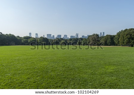 Panorama view of New York City Central Park with Manhattan skyline. - stock photo