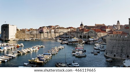 Panorama view of Old Dubrovnik port. Croatia, Europe