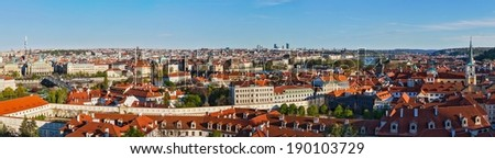 Panorama view of Prague from Prague Castle. Prague, Czech Republic - stock photo