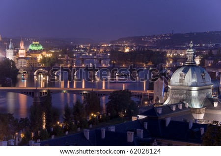 panorama view of Praha,the capital city of the Czech Republic - stock photo