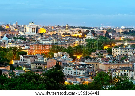 Panorama view of Rome city at evening