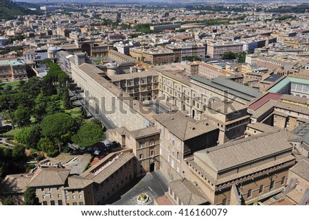 Panorama View of  Rome city from top of St.Piter's Basilica, Rome Italy
