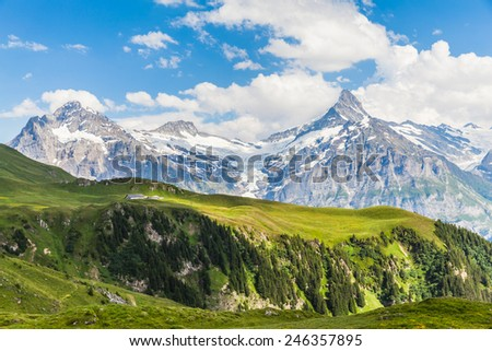 Panorama view of Schreckhorn, swiss alps, Grindelwald, Switzerland - stock photo