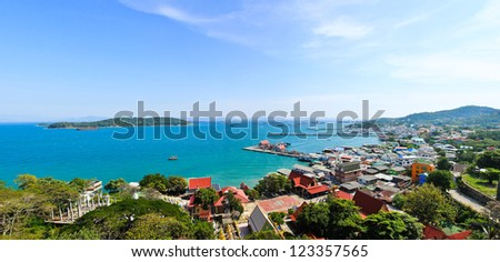 Panorama view of Sichang Island ,Chonburi ,Thailand.