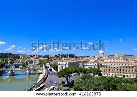 Panorama View of St. Peter's Basilica from St. Angel's castle, Rome Italy  - stock photo
