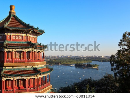 Panorama view of Summer Palace and Beijing city. China - stock photo