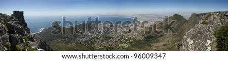 Panorama view of Table Bay from Table Mountain, Cape Town, South Africa - stock photo