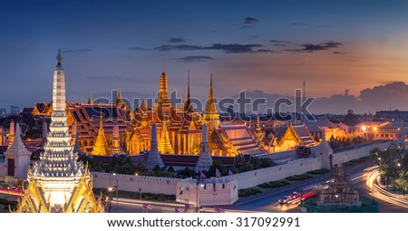 Panorama View of Temple of the Emerald Buddha in Bangkok, Thailand. Wat Phra Kaew is one of the most popular tourists destination in Thailand. - stock photo