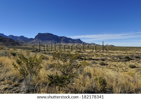 Panorama view of the Chisos Mountains in the morning - Big Bend National Park - stock photo