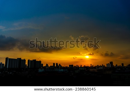 Panorama view of the city at twilight. Thailand, Bangkok, the center - stock photo