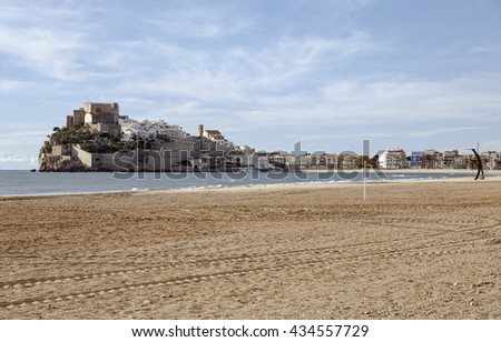 Panorama view of the Peniscola, Valencia, Spain - stock photo