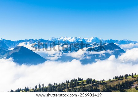 Panorama view of the swiss alps on top of Rigi mountain, Switzerland - stock photo