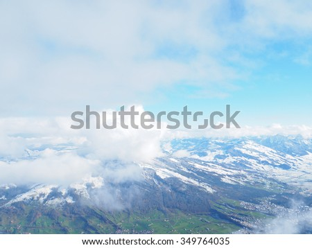 Panorama view of the swiss alps on top of Rigi mountain,Winter landscape on the mountain Rigi, in Switzerland
