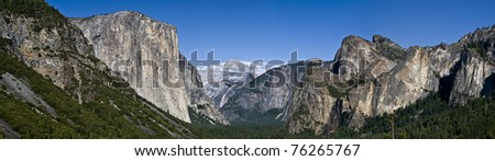 Panorama view of the yosemite national park mountains