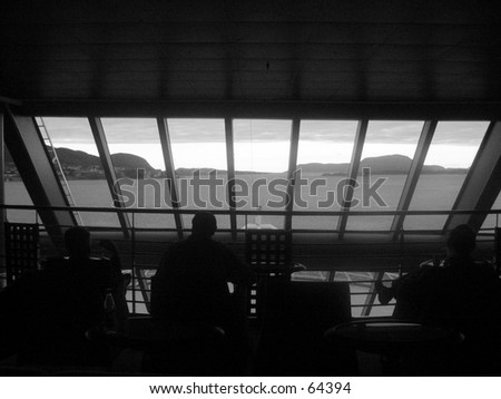 Panorama view on a cruise ship - hurtigruta. - stock photo
