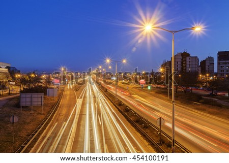 Panorama view on Belgrade roads at night time with street lights