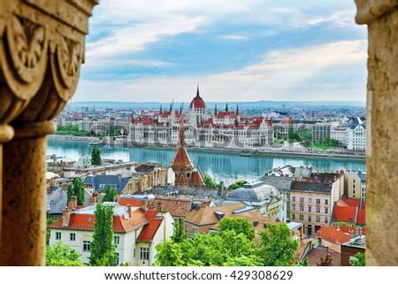 Panorama View on Budapest city from Fisherman Bastion. Hangary. - stock photo