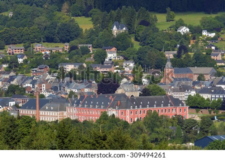 Panorama view on the Belgian city of Stavelot in the Belgian Ardennes  - stock photo