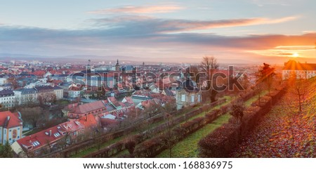 Panorama View on the famous tourism spot of Little Venice from the Michaelsberg in Bamberg / Germany - stock photo