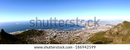 Panorama view over Cape Town in South Africa from Table mountain