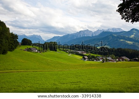 panorama view over the alps landscape - stock photo