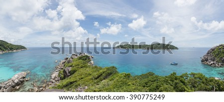 Panorama view pont with crystal clear water, Similan National Park - stock photo