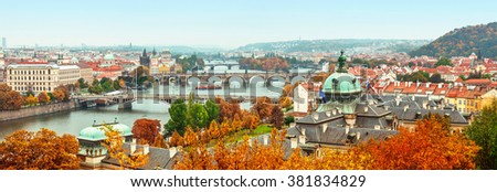 Panorama view to Vltava river in Prague Czech republic - stock photo