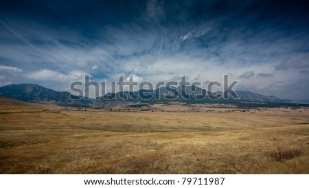 Panorama where the Plains meet the Mountains near Boulder, Colorado - stock photo