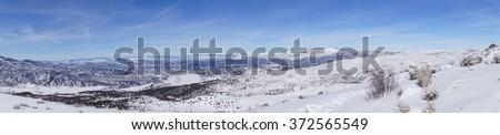 Panorama, Winter snow on mountains near Cordillera,  Colorado - stock photo