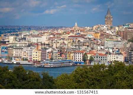 Panorama with Galata tower in Beyoglu, Istanbul, Turkey. - stock photo