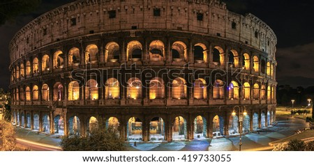 Panorama with night view on Colosseum, Rome, Italy