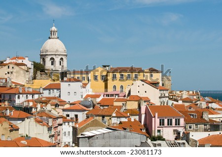 Panorama with Santa Engracia Church, Lisbon, Portugal - stock photo