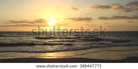 Panorama with sea sunset, Seaford, Victoria, Australia - stock photo