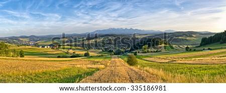 Panorama with Tatra mountains, Poland - stock photo