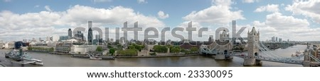 Panorama with Tower Bridge, Tower of London, City of London and HMS Belfast - stock photo