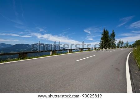 Panoramastrasse-asphalt road in the Bavarian Alps - stock photo