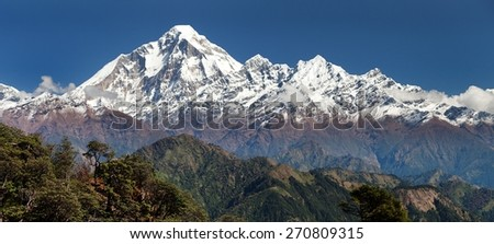 panoramatic view from Jaljala pass to Dhaulagiri Himal - Guerrilla trek in Western Nepal - stock photo