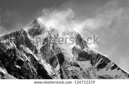 panoramatic view of Lhodse and Nuptse - stock photo