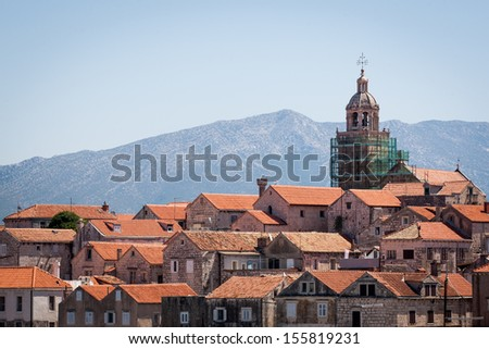 Panoramatic view of the Old town of Korcula, Croatia - stock photo