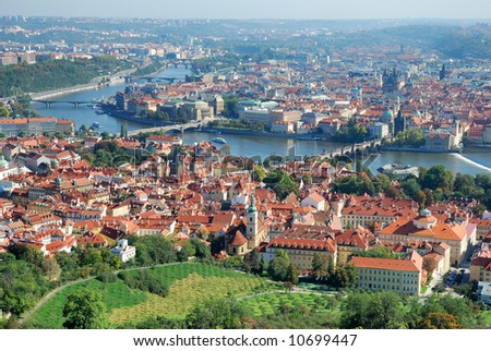 Panoramatic view of the Prague, Czech republic - stock photo