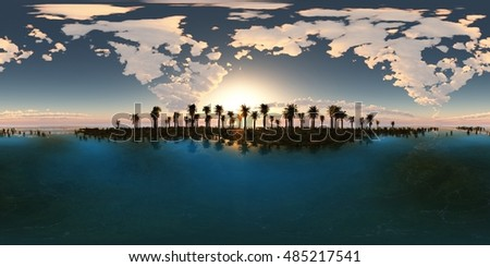 panoramia of tropical beach. made with one 360 degree lense. ready for virtual reality. 3D illustration