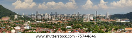 Panoramic aerial city view to Georgetown, Penang, Malaysia
