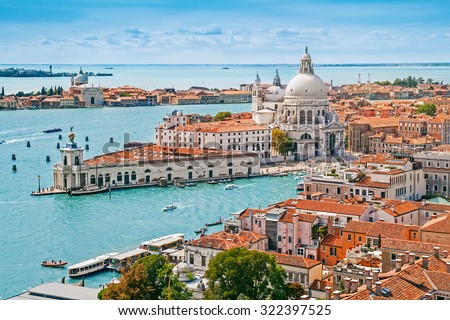 Panoramic aerial cityscape of Venice with Santa Maria della Salute church, Veneto, Italy - stock photo