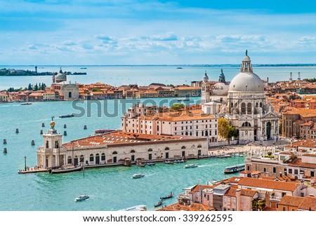 Panoramic aerial cityscape of Venice with Santa Maria della Salute church, Veneto, Italy - stock photo
