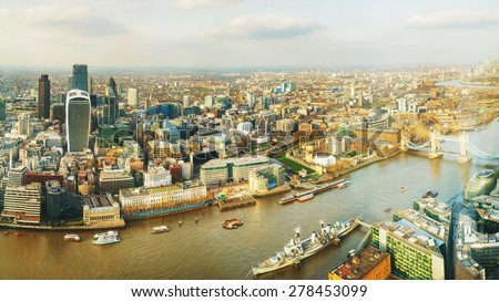 Panoramic aerial overview of London city - stock photo