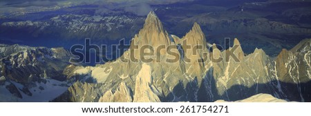 Panoramic aerial view at 3400 meters of Mount Fitzroy, Cerro Torre Range and Andes Mountains, Patagonia, Argentina - stock photo