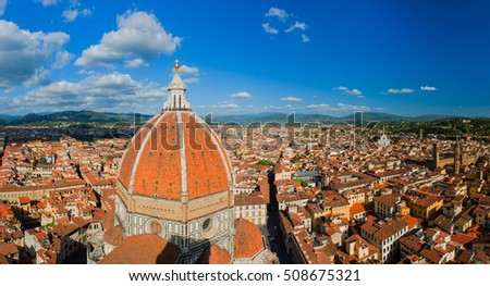 Panoramic Aerial view from the top of Florence cathedral in Florence Italy. Aerial view of Florence Old Town from Duomo Dome