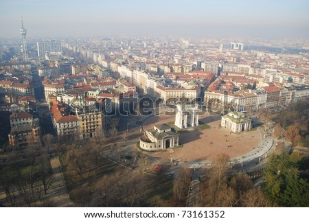 Panoramic aerial view of Arco Della Pace from Branca tower, Milan, Lombardy, Italy